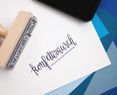 Corporate Design für konfettirausch Logo Handlettering Stempel
