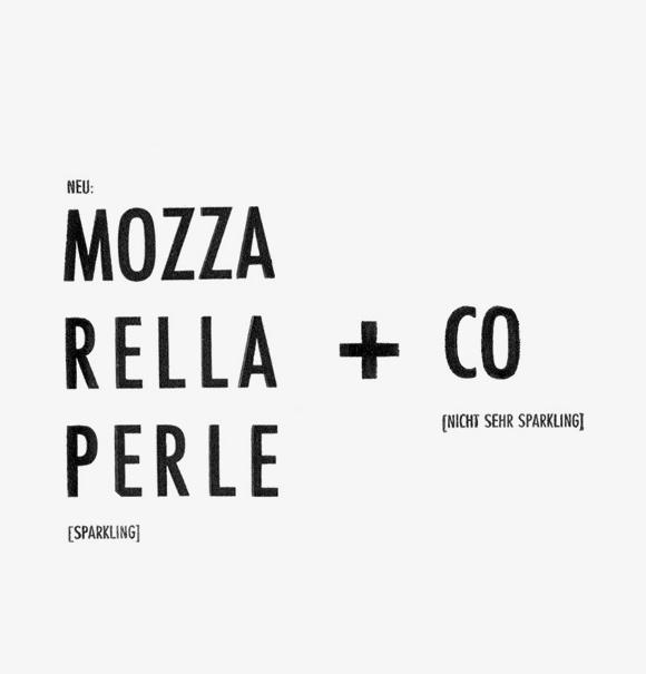 Mozzarella - Formfleischvorderschinken - Poesie - Handsatz