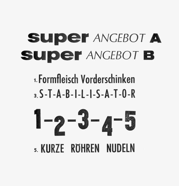 12345 - Formfleischvorderschinken - Poesie - Handsatz