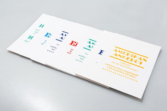 Reihe Postkarten Heissfolienprägung Typografie Formfleischvorderschinken
