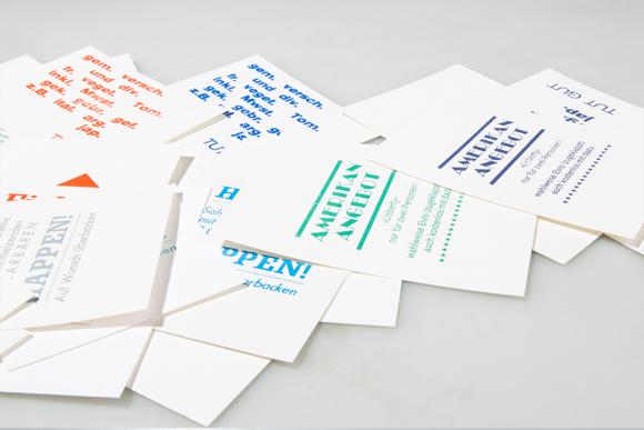 Postkarten Heissfolienprägung Typografie Formfleischvorderschinken