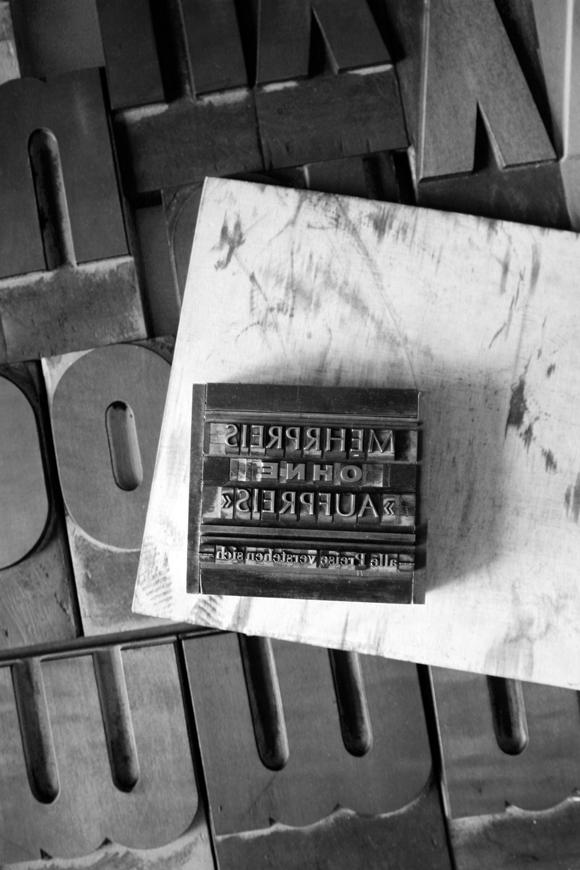 Holzbuchstaben - Formfleischvorderschinken - Poesie - Handsatz