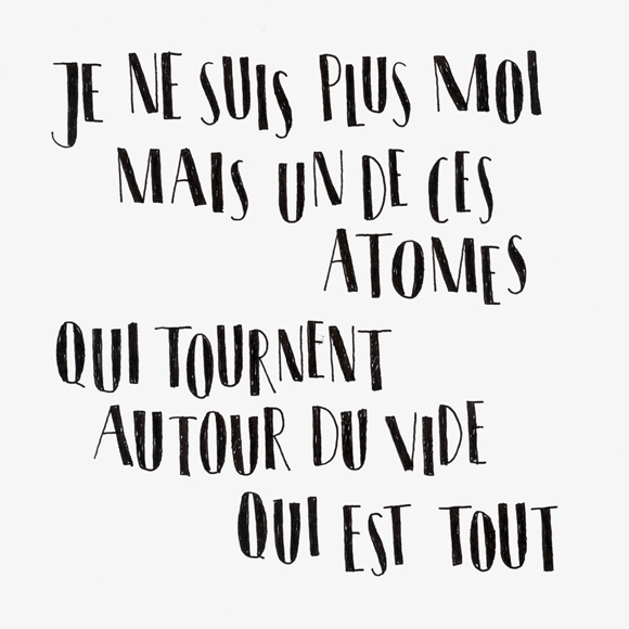 atomes - Lettering - Zitat - Zeichnung - Monsieur Ibrahim - französisch