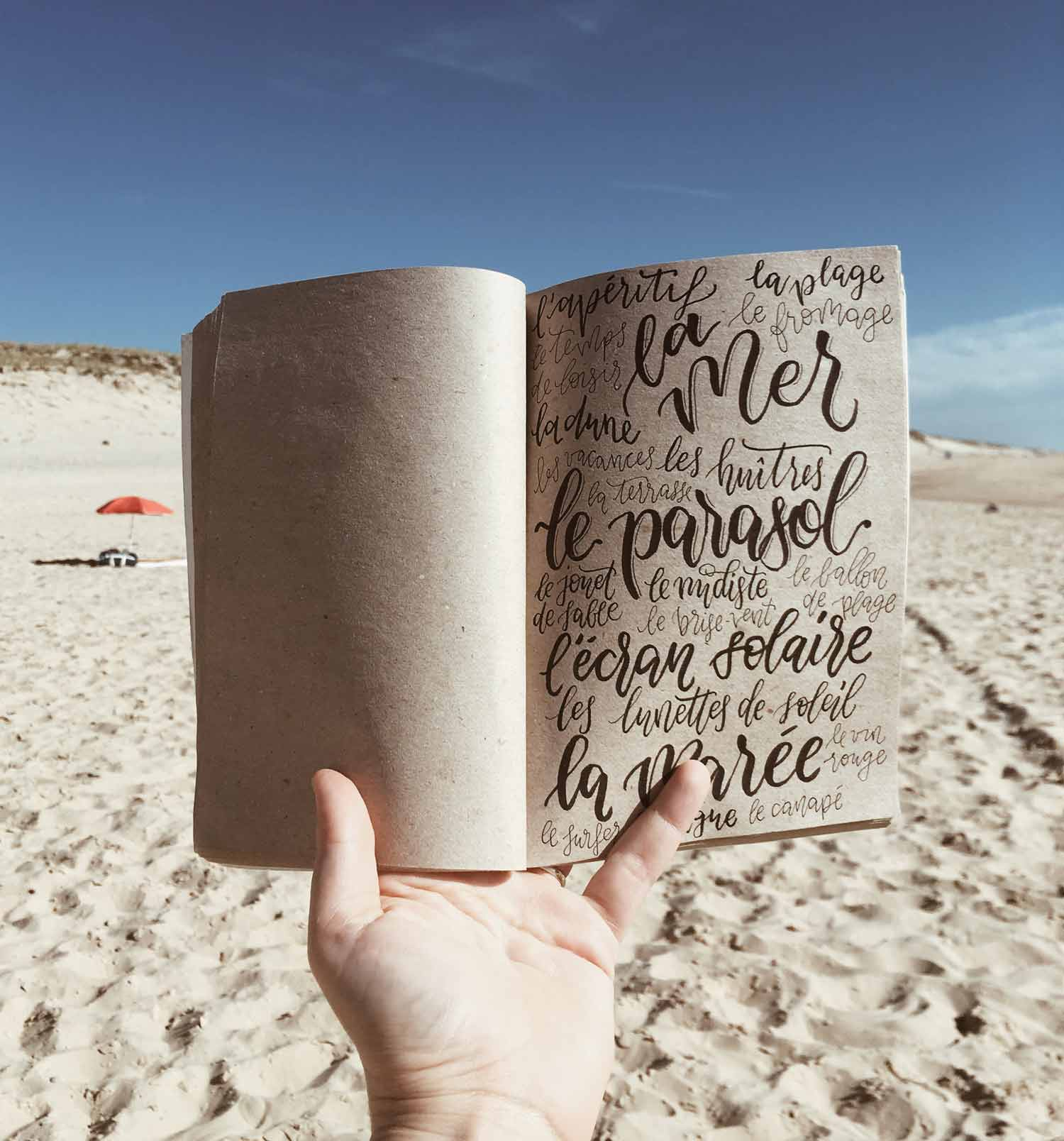 beach handlettering page sketchbook France